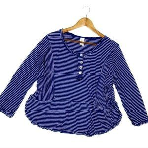 Free people we the free blue Henley striped top